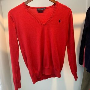 Red, Polo by Ralph Lauren, V-Neck Sweater